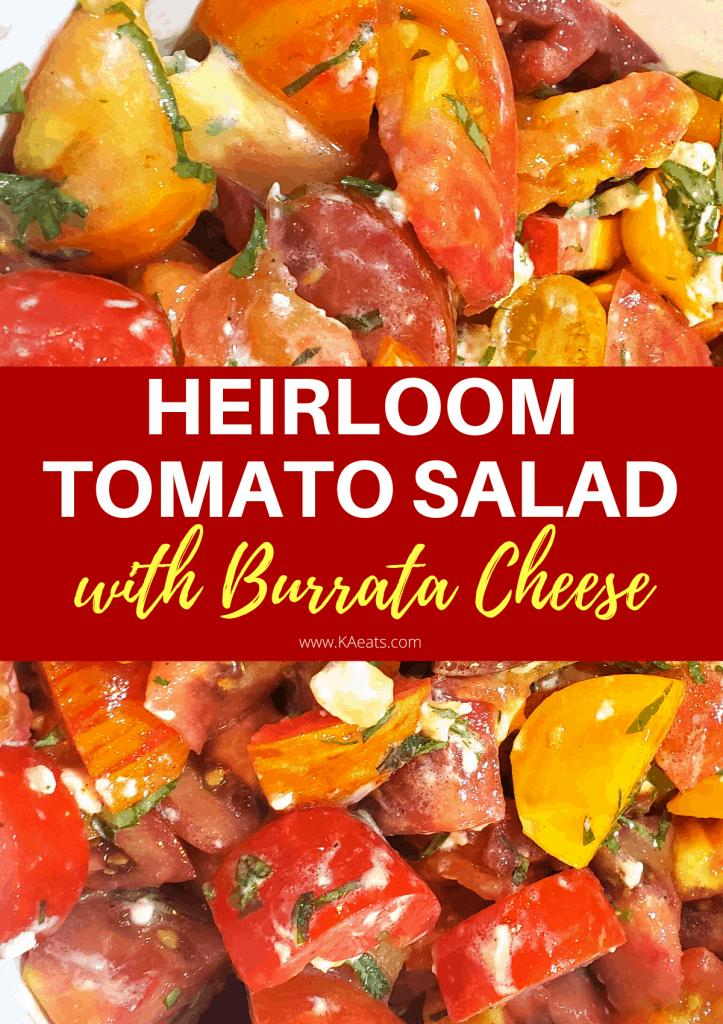 HEIRLOOM TOMATO SALAD WITH BURRATA CHEESE