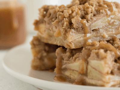 APPLE PIE BARS WITH SALTED CARAMEL SAUCE  Fall Dessert