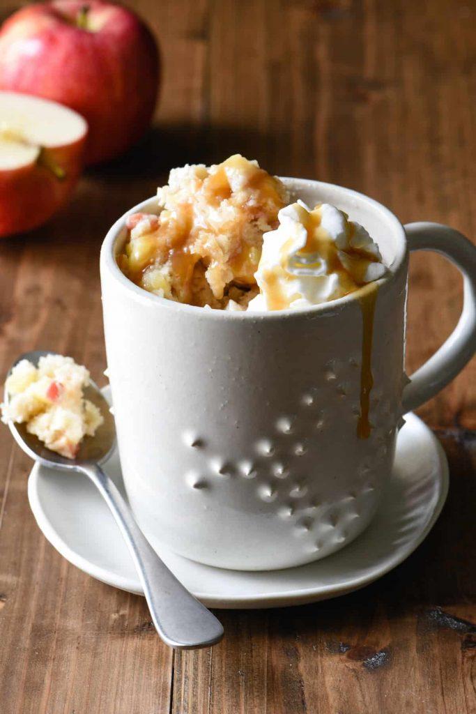 Caramel Apple Mug Cake Fall Dessert
